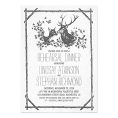 Rustic country rehearsal dinner invites with deer announcement
