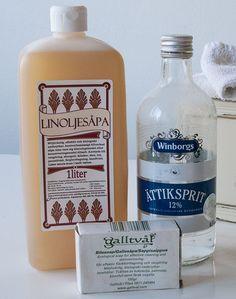 Tvätta giftfritt och miljövänligt. Linoljesåpa, Ättiksprit och Galltväl Giftfritt tvättmedel