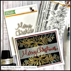 Beautiful Christmas card using the #stamptember #simonsaysstamp #paperrose collaboration stamp set