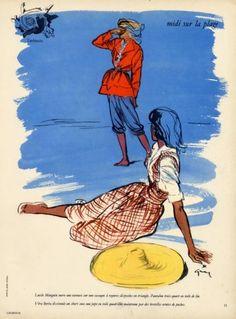 Lucile Manguin & Véra Boréa 1946 René Gruau, Fashion Illustration