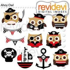 Ahoy Owl Cliparts 07493.. Pirate hoot digital graphic clip arts for commercial use
