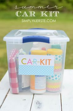 Bugs, sun, scrapes, messes, mud...a summer car kit will help will all of these things and more when you're on the road!