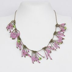 Pink Short Transparent Necklace Flowery Romantic by Cardoucci