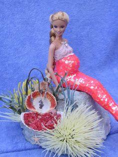 """Special Custom OOAK Mermaid Barbie Doll Pregnant """"Nadia"""" w/ Ocean Bottom Stand"""