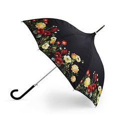 Floral Garden Umbrella 1 This gorgeous umbrella features a floral pattern outside and a field of stars inside. Pagoda Umbrella, Lace Umbrella, Vintage Umbrella, Folding Umbrella, Under My Umbrella, Cute Umbrellas, Umbrellas Parasols, Floral Umbrellas, Umbrella Painting