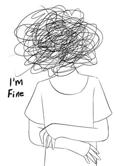 I'm fine by SpaceyGlow on DeviantArt Sad Drawings, Dark Art Drawings, Art Drawings Sketches, Hipster Drawings, Pencil Art Drawings, Doodle Drawings, Dark Art Illustrations, Illustration Art, Drawing Feelings