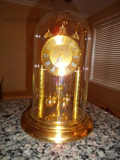 BRASS GLASS DOME PENDULUM GERMAN MANTEL CLOCK ROMAN NUMERALS FOR REPAIR Vintage Mantel Clocks, Roman Numerals, Glass Domes, Light Bulb, German, Brass, Home Decor, Deutsch, Decoration Home