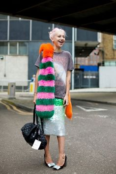 This is exactly the kind of fashion insanity that I love, and find so hard to make work for myself....