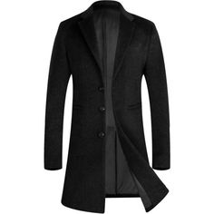APTRO Men's Trench Coat Wool Pea Coat Long Gentleman Business Winter... ❤ liked on Polyvore featuring men's fashion, men's clothing, men's outerwear, men's coats, mens long peacoat, mens trench coat, mens long wool coat and mens wool outerwear