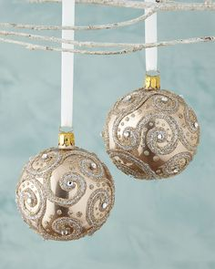 Glittered Champagne Ball Christmas Ornament, Set of 2
