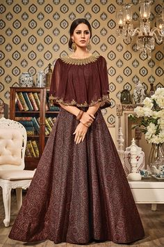 Brown Color German Silk Fabric Cape Style Gown