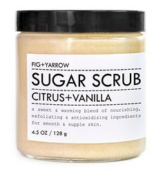 Citrus + Vanilla Sugar Scrub - Fig + Yarrow Available in oz. Glass Jar Offers a bright blend of firming, exfoliating, and antioxidizing ingredients Homemade Moisturizer, Homemade Skin Care, Cinnamic Acid, Vanilla Sugar Scrubs, Organic Nutrients, Fig And Yarrow, Pumpkin Seed Oil, Body Cleanser, Travel Size Products