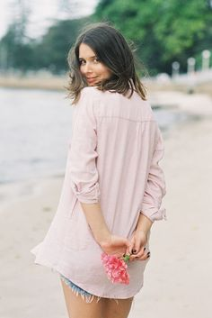 A floaty blouse and cut offs ~ basic yet pretty.