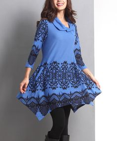Blue Lace-Print Side Button Handkerchief Tunic