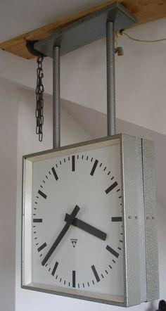 PRAGOTRON Vintage Metal Industrial DOUBLE-SIDED Clock Factory 44 x 44 cm