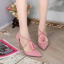 Verão Sexy Gladiator Sandals Tassel fina salto alto 2016 sapatos mulher mulheres do Vintage sapatos sapatos Pink preto # 3199(China (Mainland))
