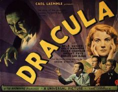 I wish I could see more of the classic horror films on the big scr een. Watching Dracula , (or Bride of Frankenstein or Creature from . Horror Movie Posters, Classic Movie Posters, Classic Horror Movies, Horror Films, Horror Art, Browning, Horror Vintage, Helen Chandler, Supernatural Films