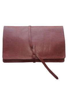 Buttery-smooth calfskin defines this front flap oversized clutchFlap with pull strapInside open calfskin pocketInside zip pocket with leather pipingCotton LiningBack stitched with discreet Morton & Hudson Made in USA
