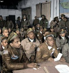 Tuskegee Airmen Attend a Briefing in Ramitelli, Italy, March Tuskegee Airmen, Black Cowboys, African American History, Native American, Black History Facts, United States Navy, American Soldiers, Before Us, Military History
