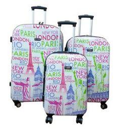Kemyer, Hard Shell Wheeled Spinner, 3 Piece, Luggage Set (Eiffel Designed)
