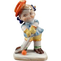 Vintage Occupied Japan Figurine – Little Girl Playing Golf @Ogee'sAntiques on Ruby Lane