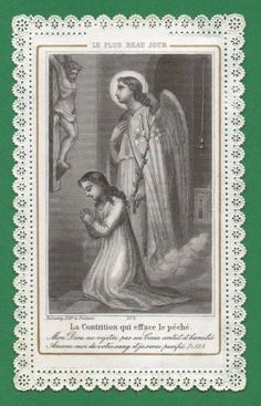 Christ Crucified,  Angel,  Girl - Contrition Antiq 19th Cent.  Lace Holy Card photo