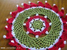 CROCHE: Toalhinha de Natal em Croche / Gorrinho com pap