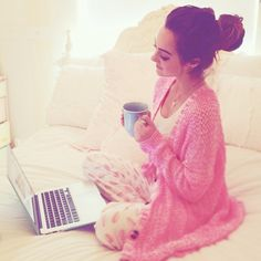 This says peaceful and happy for me, because of the quiet that morning brings, all warm and comfy in pajamas while browsing aimlessly online. Just looks nice.