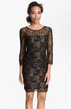 Max & Cleo Sheer Sleeve Metallic Lace Sheath Dress available at #Nordstrom FAVOURITE