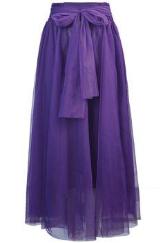 Purple Belt Mesh Yoke Skirt - Sheinside.com $22.33