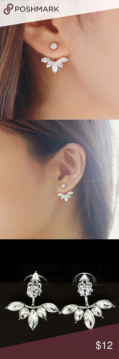 Lucy Ear Jacket Earrings Available in Rose Gold and Silver. CZ stones. Jewelry Earrings