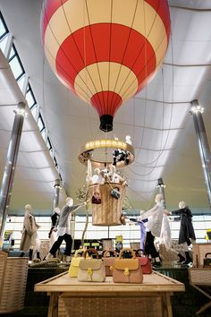 Burberry hot-air balloon installation at Heathrow Terminal 2 - fabric envelope built by Cameron Balloons in Bristol