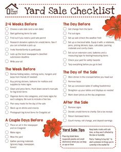Use this free, printable yard sale checklist to prepare for your next yard sale. It covers everything you need to do to have a successful sale. Garage Sale Signs, Yard Sale Signs, For Sale Sign, Garage Sale Pricing, Garage Sale Organization, Rummage Sale, Sell Diy, Craft Sale, Helpful Hints