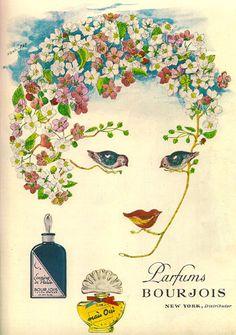 Vintage perfume ads are just so glamorous. I don't wear perfume these . Vintage Labels, Vintage Ads, Vintage Prints, Vintage Posters, Vintage Makeup, Bourjois Perfume, Perfume Adverts, Diy Art, Paris Perfume
