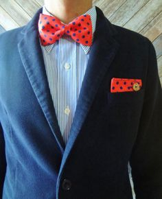Dandy Set of Buttoned Pocket Square and Matching Bow Tie