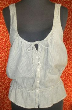 AMERICAN EAGLE OUTFITTERS gray striped cotton bohemian blouse S/P (T10-01G5G) #AmericanEagleOutfitters #Blouse #Casual