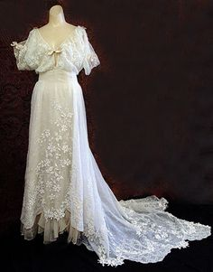 Hand embroidered cotton gauze wedding dress c.1908 purchased - Commodore Perry estate. Vintage Textile archives.