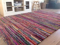 Shabby Chic Fringed Recycled Fabric Multi Coloured Rag Rug - Second Nature Online Recycled Rugs, Recycled Fabric, Shabby Chic Rug, Braided Rag Rugs, Types Of Rugs, Geometric Rug, Jute Rug, Rug Making, Fair Trade
