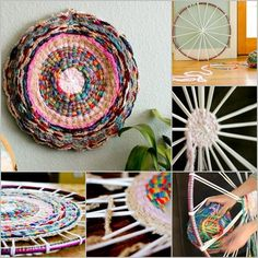 Share This Hula Hoop Rug is the perfect project if you are wondering what to make with finger! This easy knitting project is made on a circle loom made from a hula hoop. You can use braided yarn or reuse your old Ts by cutting it to strips. Your kids … Hula Hoop Weaving, Hula Hoop Rug, Hand Weaving, Circular Weaving, Circle Loom, Circle Rug, Easy Knitting Projects, Weaving Projects, Recycling Projects