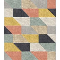 """This area rug features <a href=""""<product_id>629</product_id>"""">Made You Look</a> in Clementine, Black, Light Blue, Maize, Flint and Pearl.  This area rug contains diagonal cut tiles.  To assemble your rug, just use the FLORdots in the box with your squares."""