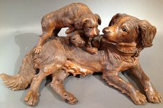 """Swiss """"Black Forest"""" Carved Dogs Circa 1880"""