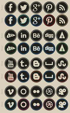 This free set of 40 social media icons features a hand-stitched style with icons for social networks like Pinterest, Dribble, and Forrst.