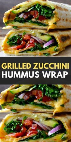 This Grilled Zucchini Hummus Wrap is the BEST vegetarian wrap! Loaded with tender grilled zucchini slices, fresh kale, tomatoes and flavorful hummus! The perfect healthy easy recipe! Recipes for 1 Grilled Zucchini Hummus Wrap Vegetarian Wraps, Tasty Vegetarian Recipes, Easy Healthy Recipes, Whole Food Recipes, Paleo, Cooking Recipes, Vegan Wraps, Vegetarian Grilling, Corn Recipes
