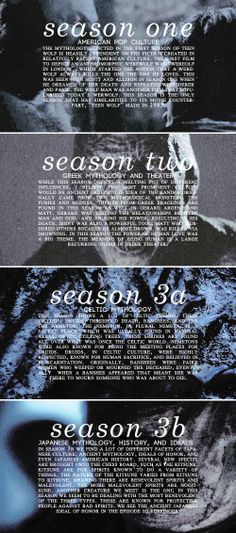 mythology and themes in each of the seasons of teen wolf