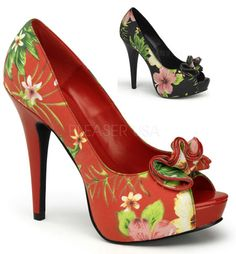 Floral Print Peep Toe Platform Pumps 5.25 inch Heel