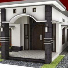 This three room house plan has a total floor area of 90 sq. With 10 meter facade, this one Single Floor House Design, Modern Small House Design, Bungalow House Design, House Front Design, Model House Plan, House Plans, Type 45, 4 Bedroom House Designs, House Construction Plan