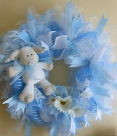Welcome Baby 24 deco mesh wreath Baby Blue by NancysNowandForever, $65.00