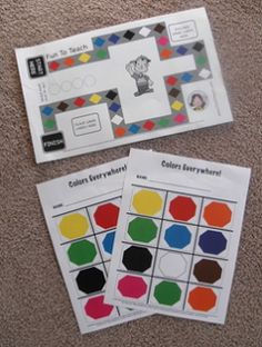 """FREE LANGUAGE ARTS LESSON - """"Kinder Color Game Board and Color Cards"""""""