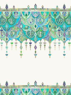 Art Deco Double Drop in Jade and Aquamarine on Cream Art Print by micklyn Art Deco, Art Nouveau, Motif Oriental, Cream Art, Iphone Skins, Iphone 8, Islamic Art, Pattern Wallpaper, Pattern Art