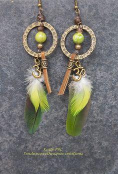 Boucles d'oreilles zen plumes Vanaja Perles par Tendancesethniques